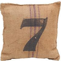 Pillows - Vintage Sack Pillow #7 I High Fashion Home - gran sack pillow, burlap pillow, numbered pillow,