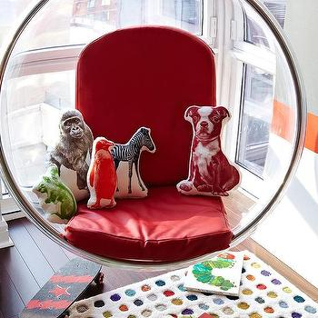 Chango & Co. - boy's rooms - Modern, boy's room, red, chair, pattern, nyc, upper west side, waterfront apartment, chango & co., bubble chair, hanging bubble chair, acrylic bubble chair,