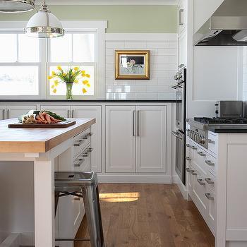 Sage green kitchen transitional kitchen shannon gale for Brushed sage kitchen cabinets
