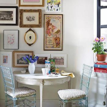 White Demilune Table, Eclectic, dining room, Suzanne McGrath Design