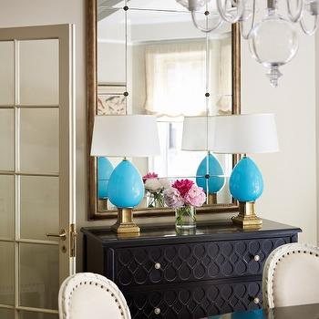 Turquoise Lamps, Contemporary, dining room, Suzanne McGrath Design
