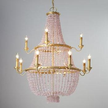 Lighting - Loulou Pink Stone Chandelier I Horchow - pink beaded quartz chandelier, pink beaded chandelier, gold and pink beaded chandelier,