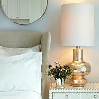 Chango & Co. - bedrooms: contemporary, master bedroom, lighting, flowers, mirror, upper west side, waterfront apartment, chango & co., fabric wrapped furniture, fabric wrapped nightstand, grasscloth furniture, grasscloth nightstand, grasscloth covered furniture, grasscloth covered nightstand, studded nightstand, sferra bedding, upholstered headboard, wingback headboard, upholstered wingback headboard, wingback upholstered headboard, mercury glass lamp,