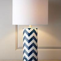 Lighting - Chevron Lamp I Horchow - navy and white chevron lamp, chevron lamp, blue chevron lamp,