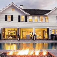 Chango & Co. - home exteriors - traditional, east hampton, beach house, beach, white, architecture, pool, patio, fire pit, chango & co, fire pit, backyard firepit,