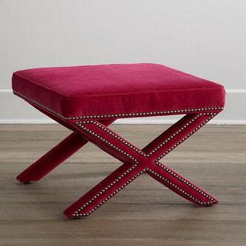 Seating - Lee Industries Raspberry Blossom X Bench I Horchow - raspberry x bench, fuchsia pink x bench, fuchsia pink x bench with nailhead trim,