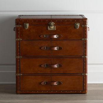 Storage Furniture - Carson Chest I Horchow - trunk chest, steamer trunk chest, leather trunk chest, leather chest,