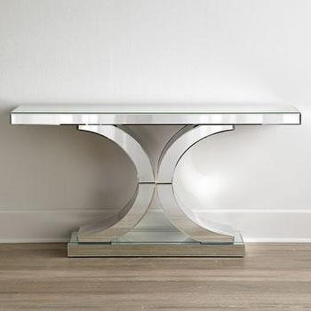 Tables - Splendora Mirrored Console Table I Horchow - mirrored console table, double c mirrored console, mirrored console,