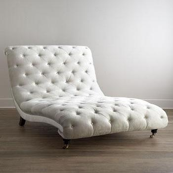 Seating - Haute House Tufted Silver Chaise I Horchow - tufted silver chaise tufted chaise, tufted gray chaise,