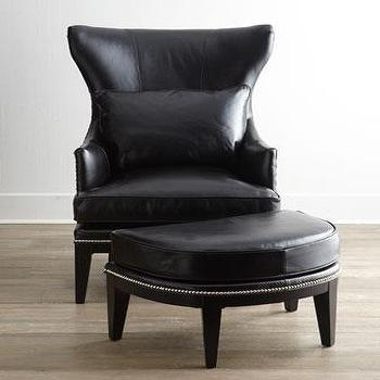 Seating - Coolidge Leather Wing Chair I Horchow - black leather wing chair, leather wing chair, black leather chair with nailhead trim, black leather ottoman, black leather ottoman with nailhead trim,