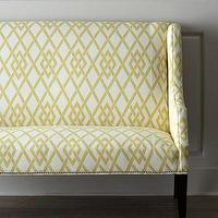 Seating - Lemon Maze Settee I Horchow - yellow and ivory settee, yellow lattice print settee, yellow settee,