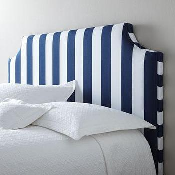 Beds/Headboards - Massoud Cabana Stripe Headboard I Horchow - navy blue and white striped headboard, navy and white striped headboard, upholstered striped blue and white headboard,