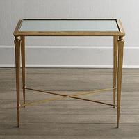 Tables - Reydon Side Table I Horchow - antiqued gold side table, mirror topped side table, transitional gold side table,