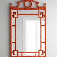 Mirrors - Tangerine Pagoda Mirror I Horchow - orange pagoda mirror, faux bamboo orange mirror, lacquered orange pagoda mirror,