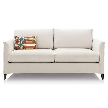 Seating - Klyne Slipcovered Apartment Sofa | Crate and Barrel - slipcovered apartment sofa, white slipcovered sofa, white contemporary sofa,