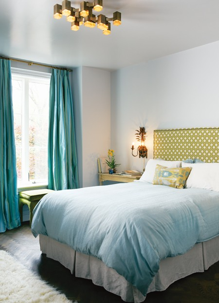 turquoise drapes contemporary bedroom house home