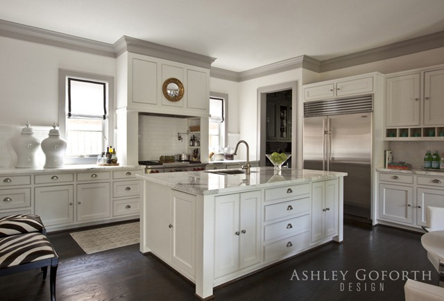 Gray crown molding transitional kitchen ashley for White kitchen cabinets with crown molding