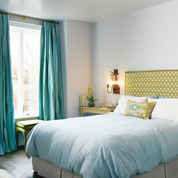 House & Home - bedrooms - blue walls, turquoise bedroom, turquoise blue bedroom, yellow and turquoise bedroom, yellow and turquoise blue bedroom, turquoise curtains, turquoise drapes, turquoise window panels, turquoise blue curtains, turquoise blue drapes, turquoise blue window panels, floor to ceiling turquoise curtains, silk turquoise curtains, green ottoman, lime green, lime green ottoman, dark stained hardwood floor, dark wood floors, turquoise and yellow bedroom, david hicks fabric, groundworks fabric, david hicks groundworks, david hicks groundworks fabric, hexagon, david hicks hexagon, david hicks hexagon fabric, hexagon headboard, lime green headboard, green headboard, green hexagon headboard, ikat pillow, yellow and blue pillow, yellow and turquoise pillow, yellow and turquoise ikat pillow, blue duvet, blue bedding, linen bed skirt, white bed skirt, yellow nightstand, distressed nightstand, yellow distressed nightstand, flokati rug, art deco chandelier, art deco light fixture,
