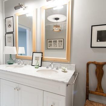 Gray Paint Colors, Transitional, bathroom, Benjamin Moore Coventry Gray, Indigo & Ochre Design