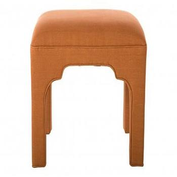Seating - Marakesh Stool | Jayson Home - rust colored stool, moroccan stool, upholstered moroccan stool, burnt orange upholstered stool,