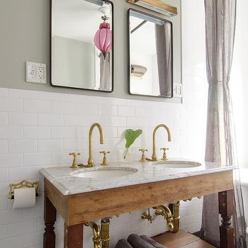 Indigo & Ochre Design - bathrooms - double washstand, double sink console, his and her sinks, salvaged wood washstand, salvaged wood double vanity, salvaged wood double washstand, marble countertop, brass faucets, brass gooseneck faucets, brass bathroom fixtures, gray bathroom, gray walls, gray paint, gray paint colors, gray bathroom walls, gray bathroom paint, gray bathroom paint color, subway tile backsplash, brass fixtures, brass towel holder, gorgeous gray walls, gorgeous gray paint, gorgeous gray paint color, amazing gray paint, amazing gray paint color,