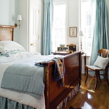 Turquoise Drapes, Traditional, bedroom, Farrow & Ball Borrowed Light, House & Home