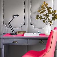 House to Home - dens/libraries/offices - office, home office, gray and pink office, gray and pink home office, pink and gray office, pink and gray home office, padded walls, gray walls, gray padded walls, studded walls, nailhead trim walls, studded padded walls, gray studded walls, gray padded walls with nailhead trim, vintage desk, gray desk, vintage gray desk, desk blotter, pink blotter, pink desk blotter, vintage lamp, vintage table lamp, pink chair, desk chair, pink desk chair, hot pink chair, hot pink tufted chair, hot pink desk chair,