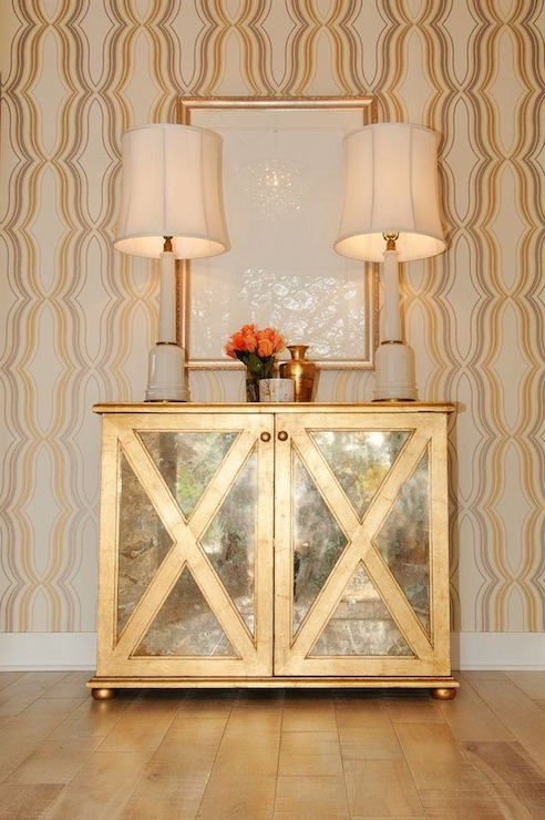 Large Foyer Chest : Gold mirrored chest contemporary entrance foyer