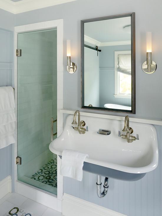 Trough Bathroom Sink With Two Faucets: Kohler Brocker Sink