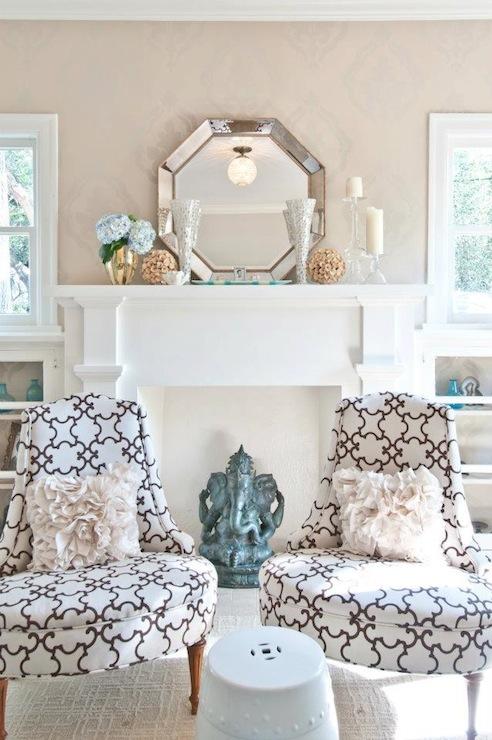 Octagon Mirror Contemporary Living Room Butter Lutz