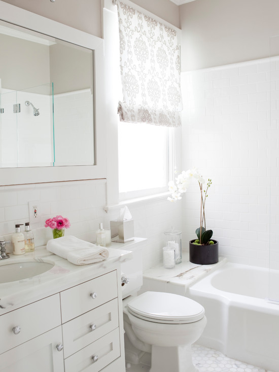 White And Grey Bathroom Transitional Bathroom