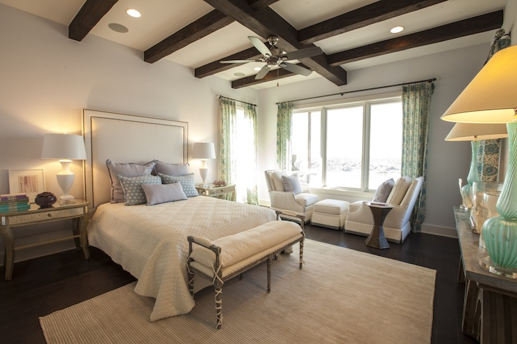 Antiqued Mirrored Nightstands Transitional Bedroom