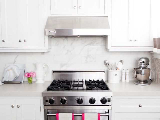Kitchen with pink accents transitional kitchen for White kitchen cabinets with brushed nickel hardware