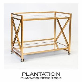 Storage Furniture - Bateman Bar Cart I PLANTATION - x-framed bar cart, rolling bar cart, gold leafed bar cart, gold bar cart,