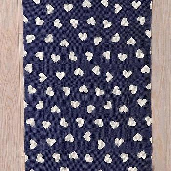 Rugs - Plum & Bow Ditsy Heart Rug - Urban Outfitters - navy and white heart print rug, heart patterened rug, navy blue and white heart rug,
