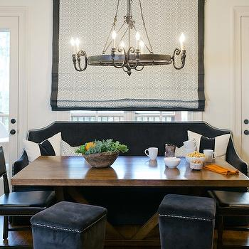 Black Velvet Banquette, Transitional, Dining Room, Dana Wolter Interiors