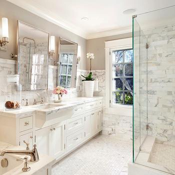 ScavulloDesign Interiors - bathrooms: revere pewter, gray walls, gray paint color, gray bathroom walls, gray bathroom paint, gray bathroom paint color, calacatta borghini, calacatta borghini tile, honed calacatta borghini, honed calacatta borghini tile, calacatta borghini tile backsplash, calacatta borghini shower, calacatta borghini tile shower, calacatta borghini tile shower surround, bathroom cabinets, white bathroom cabinets, marble countertops, white dove cabinets, white dove bathroom cabinets, benjamin moore white dove cabinets, rectangular mirrors, pivot mirrors, rectangular pivot mirrors, drop in tub, marble drop in tub, marble hex tiles, marble hex tile floor, marble hex floor, marble hex bathroom floor, glass shower, shower enclosure, glass shower enclosure, shower kit, rain shower head,