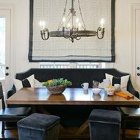 B Metro - dining rooms - blue dining room, dark blue dining room, dining banquette, dining bench, banquette bench, custom banquette, custom dining banquette, custom banquette bench, blue banquette, blue bench, blue banquette bench, dark blue banquette, dark blue bench, dark blue banquette bench, velvet banquette, velvet bench, velvet banquette bench, blue velvet banquette, blue velvet bench, blue velvet banquette bench, roman shade, geometric roman shade, blue roman shade, blue geometric roman shade, blue roman shade, iron candelabra, trestle dining table, blue dining chairs, dark blue dining chairs, blue leather dining chairs, studded dining chairs, blue studded dining chairs, blue ottomans, dark blue ottomans, velvet ottomans, dark blue velvet ottomans, nailhead ottomans, studded ottomans,
