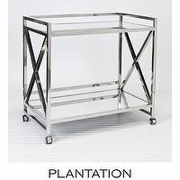 Storage Furniture - Bateman Bar Cart | PLANTATION - polished stainless steel bar cart, bar cart with mirrored shelves, x-framed bar cart, modern bar cart,