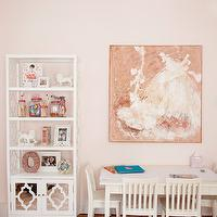 Caitlin Wilson Design - girl's rooms - Benjamin Moore - Gentle Butterfly - pink girls room, girly bedroom, girly room, white kids table, white kids art table, white kids craft table, kids craft table, kids art table, pastel pink walls, pale pink walls, white moroccan paneled bookcase, white bookcase with mirror fronted lower cabinet, hardwood floors, chevron rug, pink and white chevron rug, white foo dogs, art supplies in glass canisters, glass canisters, framed photos, whimsical girls wall art, girls room art, white dress wall art, girly wall art, white dress canvas, Home Decorators Reflections Bookcase, quatrefoil bookcase, white quatrefoil bookcase, chevron rug, pink chevron rug,