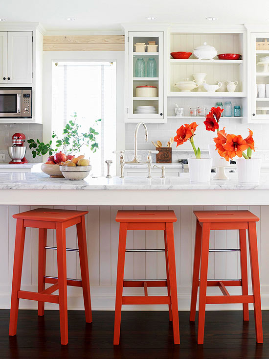 Orange Bar Stools, Cottage, kitchen, BHG