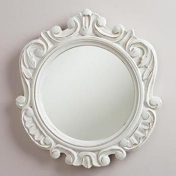 Mirrors - White Round Adella Scalloped Mirror | World Market - scalloped white mirror, round scalloped mirror, round white scalloped mirror, hand-carved white mirror, hand-carved round mirror,