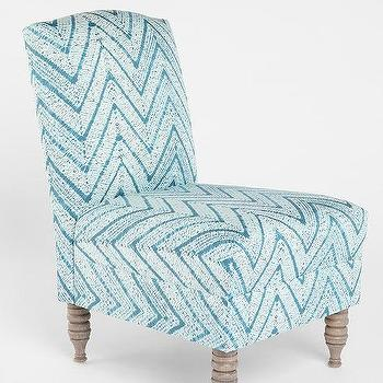 Seating - Chevron Slipper Chair - Urban Outfitters - chevron slipper chair, aqua blue slipper chair, zigzag slipper chair, turquoise blue chevron slipper chair,