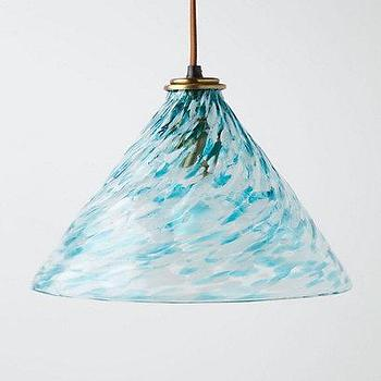 Lighting - Eddy Pendant, Cone - Anthropologie.com - recycled glass pendant, blue glass pendant, recycled blue glass pendant, cone shaped blue pendant,
