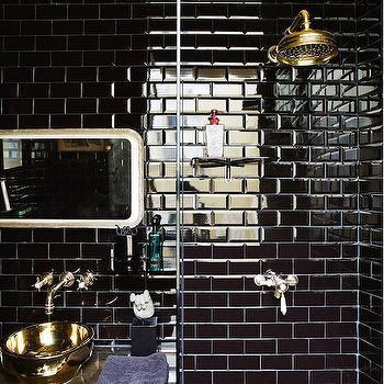 Corrado-di-Byaze - bathrooms: black bathroom, black and gold bathroom, small bathroom, small shower, small glass shower, shower enclosure, small glass shower, brass shower head, rain shower head, brass rain shower head, black subway tile, black subway tile backsplash, black subway tile shower, black subway tile shower surround, gold vanity, gold bathroom vanity, gold sink, gold bowl sink, gold vessel sink, brass faucet kit, wall mount faucet, brass wall mount faucet,