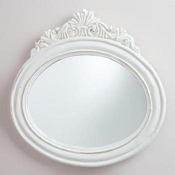 Mirrors - White Oval Adella Mirror | World Market - white oval mirror, oval wall mirror, hand-carved white mirror, hand-carved oval mirror,