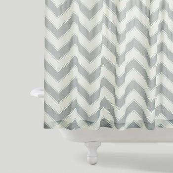 Bath - Chevron Shower Curtain | World Market - chevron shower curtain, gray and white chevron shower curtain, gray chevron shower curtain,