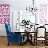 Style at Home - dining rooms - pink and blue dining room, blue and pink dining room, blue and pink room, pink and blue room, blue ceiling, painted ceiling, blue painted ceiling, white and pink wallpaper, scroll wallpaper, white and pink scroll wallpaper, dining room wainscoting, wainscoting, wainscoted walls, wainscoting in dining room, french doors, dining room french doors, crystal chandelier, dining room chandelier, dining table chandelier, mahogany dining table, georgian dining table, french chairs, french dining chairs, upholstered dining chairs, upholstered french dining chairs, captain chairs, blue chairs, tufted chairs, velvet chair, blue velvet chair, blue tufted chair, blue velvet tufted chair, blue captain chairs, blue velvet captain chairs, blue tufted captain chairs, blue dining chairs, blue velvet dining chairs, blue tufted dining chair, bound sisal rug,