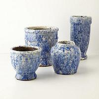Decor/Accessories - Ria Herb Pot - Anthropologie.com - herb pots, blue terracotta pots, blue crackled glaze pots,