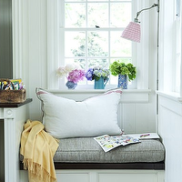 House Beautiful - kitchens - kitchen window seat, built in window seat, window seat nook, espresso roman shade, dark brown roman shade, window ledge, styled window ledge, vintage pitchers, eclectic pitchers, collection of pitchers, gray cushion, window seat cushion, yellow throw, yellow throw blanket, cashmere throw, cashmere throw blanket, yellow cashmere throw, gingham shade, pink gingham shade, beadboard backsplash,